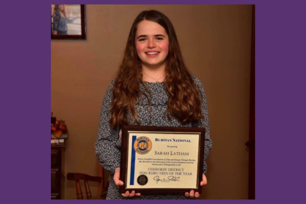 SOPHOMORE SARAH KATHERON LATHAM NAMED DISTRICT RURITEEN OF THE YEAR -- Latham is honored with a plaque for the 2020 Ruriteen of the Year award.