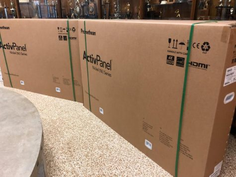 PROMETHEAN BOARDS DELIVERED TO CENTRAL -- New Promethean boards sit in the front hallway.
