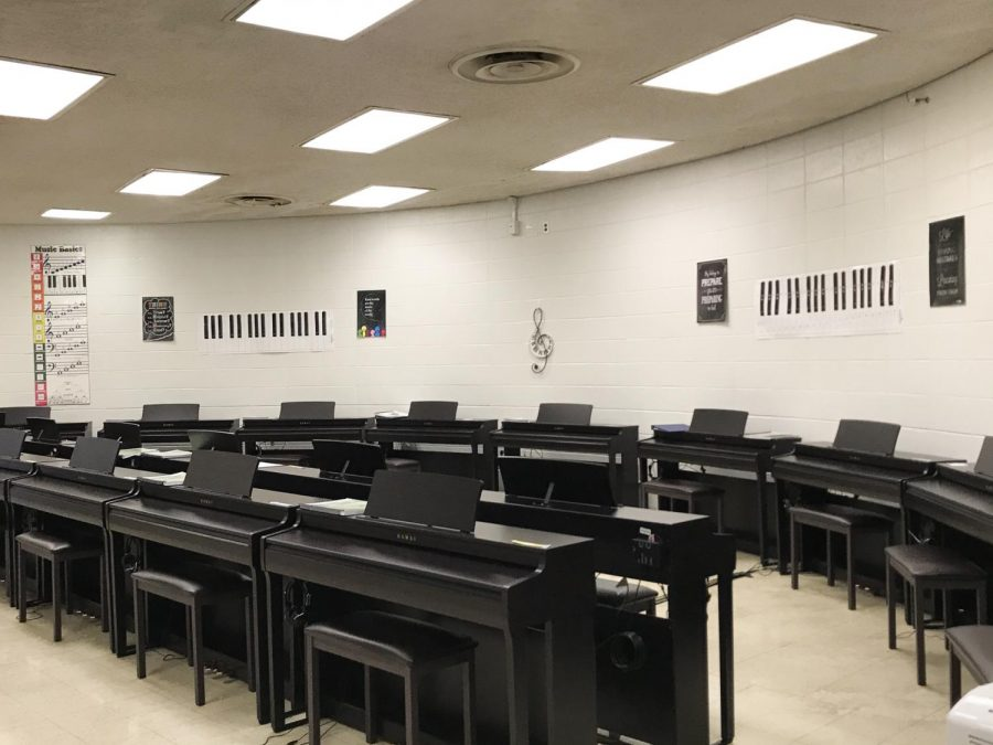 CENTRAL RECEIVES GRANT TO EXPAND PIANO LAB AND ADD MUSIC LIBRARY -- The new Central High School piano lab now contains 20 student pianos and one teacher piano.