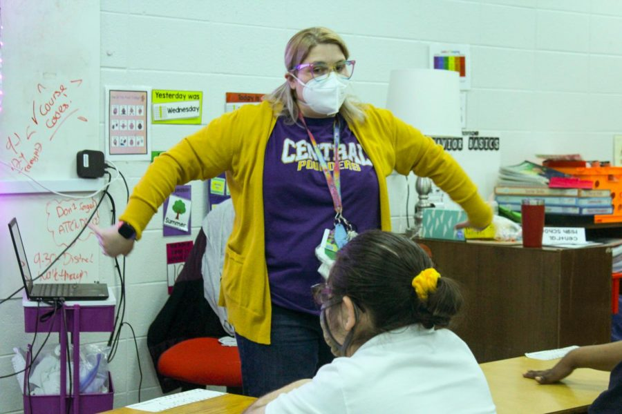 CENTRAL WELCOMES RACHEL HILL AS EXCEPTIONAL EDUCATION TEACHER -- Rachel Hill is engaging her students by acting out what is on the board.