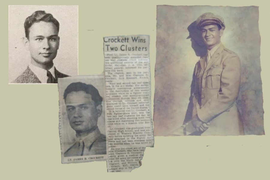 DUTCH FIELDS OF HONOR FOUNDATION HONORS CENTRAL GRADUATE AND WWII VETERAN -- Portraits and newspaper clippings of Lieutenant Crockett include his senior pictures and military portrait.