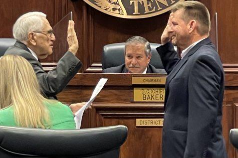 JAMES WALKER IS HAMILTON COUNTYS NEWEST SCHOOL BOARD MEMBER -- James Walker is sworn in as the newest member of the Hamilton County School Board.