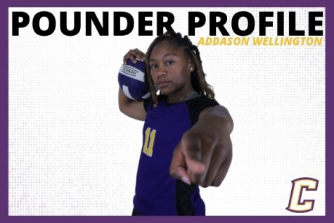 POUNDER PROFILE: VOLLEYBALL STANDOUT ADDASON WELLINGTON -- Addason Wellington featured in picture designed by Karleigh Schwarzl.