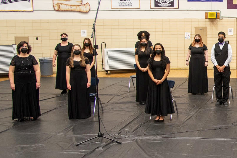 CENTRAL RECEIVES $1,250 GRANT FOR CHORAL DEPARTMENT-- The Central Voices perform at their spring 2021 concert.