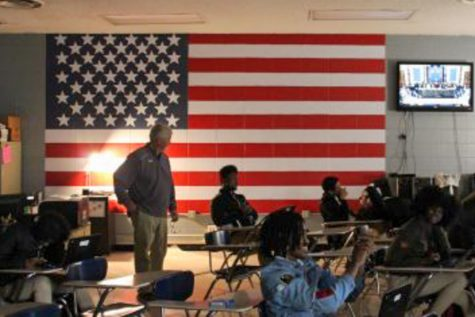 (file photo) -- Pictured above is a mural of the United States flag in Mr. Massengales room, one of the government classes at Central.