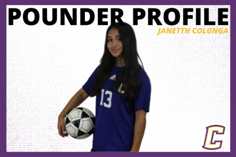 POUNDER PROFILE: SENIOR SOCCER PLAYER, JANETTH COLUNGA -- #13, Janetth Colunga pictured in a graphic designed by Karleigh Schwarzl.